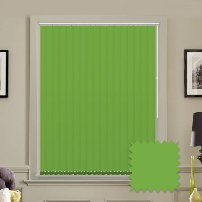 Unicolour Kiwi Green 5 inch Vertical Blinds - made to measure - Just Blinds